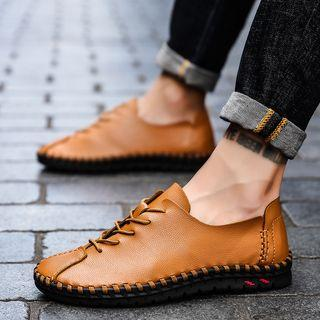 Genuine Leather Lace-up Stitched Shoes