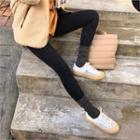 Fleece-lined Leggings Pants Black - One Size
