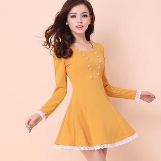 Long-sleeved Lace Trim A-line Dress