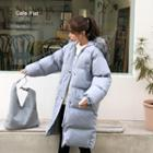 Faux-fur Hooded Puffer Coat Sky Blue - One Size
