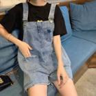 Frayed Denim Jumper Shorts