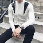 Slim-fit Leather Panel Mock-neck Sweater