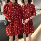Short-sleeve Floral Mini Shirtdress / Long-sleeve Floral Mini Shirtdress