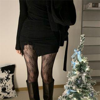 Bow Print Tights Black - One Size