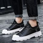 Faux Leather Paneled Lace Up Sneakers