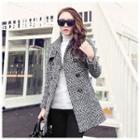 Houndstooth Long Woolen Coat