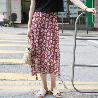 Floral Print Midi Chiffon Skirt Red - One Size