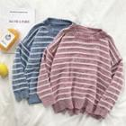 Color-block Striped Crewneck Long-sleeve Sweater