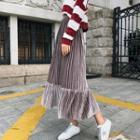 Pleated Velvet Maxi A-line Skirt