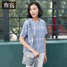 Short-sleeve Lace-print Top