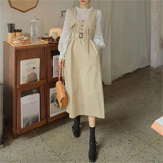 Belted Maxi Pinafore Dress