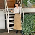 Drawcord Maxi Plaid Skirt