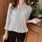 Diagonal-button Striped Blouse