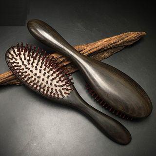Wooden Hair Brush Dark Brown - One Size