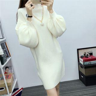 Mock-neck Long-sleeve Knit Dress White - One Size