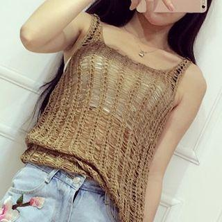 Perforated Knit Tank Top