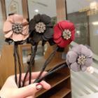 Rhinestone Fabric Flower Hair Tie