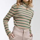 Mock-neck Letter Embroidered Striped Knit Top