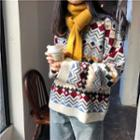 Long Sleeve Pattern Sweater White - One Size