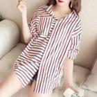 3/4-sleeve Letter Panel Stripe Shirt