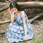 Sleeveless Floral A-line Maxi Dress