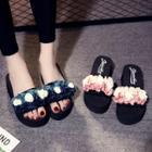 Floral Slide Platform Slippers