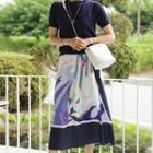 Graphic-printed Pleated Dress