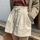Drawstring Wide-leg Linen Shorts