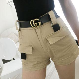 High-waist Pocketed Cargo Shorts