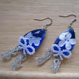 Blue Ribbons And Dog Earrings