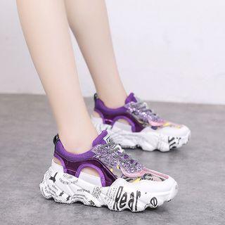 Printed Lace Up Platform Sneaker Sandals