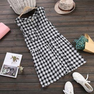 Plaid Button Down Pinafore Dress