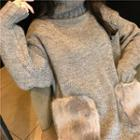 Furry Pocket Turtleneck Long Sweater