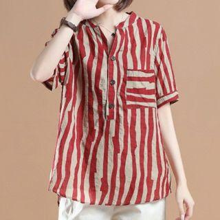 Elbow-sleeve Buttoned Striped Top