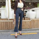Mid-rise Stitched Boot-fit Jeans