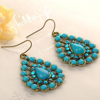 Water Drop Earrings  Blue - One Size
