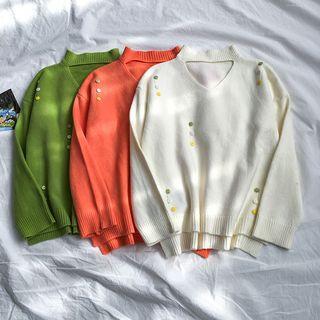 Button Detail Cutout Sweater