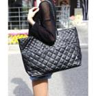 Faux Leather Quilted Shoulder Bag