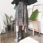 Dip-back Floral Chiffon Long Skirt