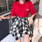 Cartoon Short-sleeve T-shirt / Check A-line Skirt