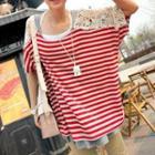 Lace Panel Striped T-shirt