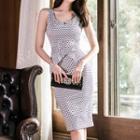 Wide Strap Patterned Sheath Dress