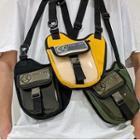 Pvc Paneled Buckled Crossbody Bag