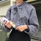 Plaid Bow Neck Shirt