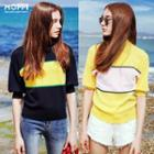 Elbow-sleeved Color-block Top
