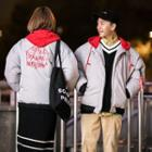 Couple Matching Letter Embroidered Two-tone Hooded Padded Zip Jacket