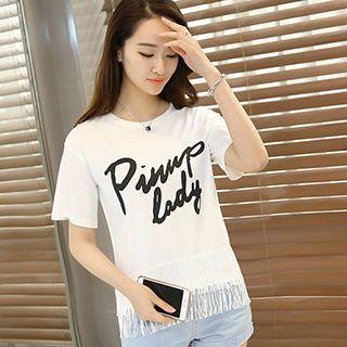Fringed Letter Short-sleeve T-shirt