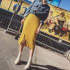 Plain Ribbed Knit Midi Skirt