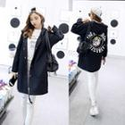 Dog Print Hooded Snap Button Jacket