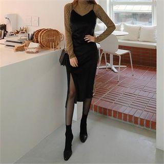 Deep-slit Long Velvet Dress Black - One Size
